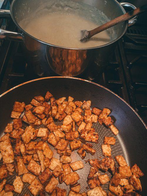 soep en tempeh koken met kiters