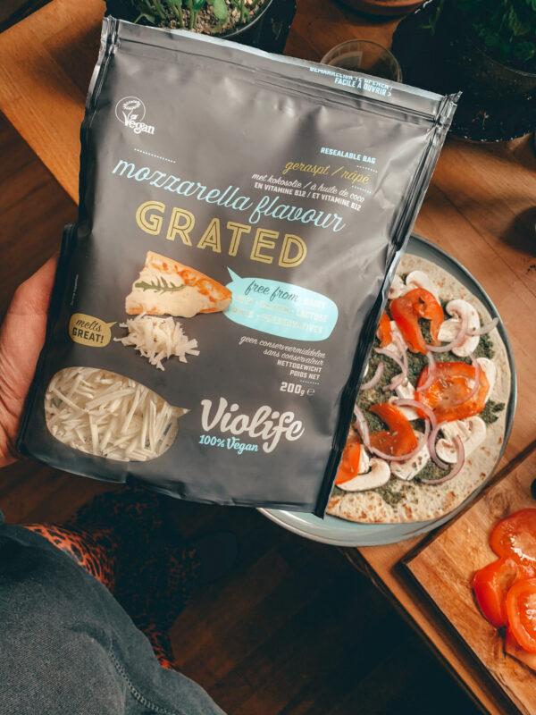 zelf vegan wrap pizza maken