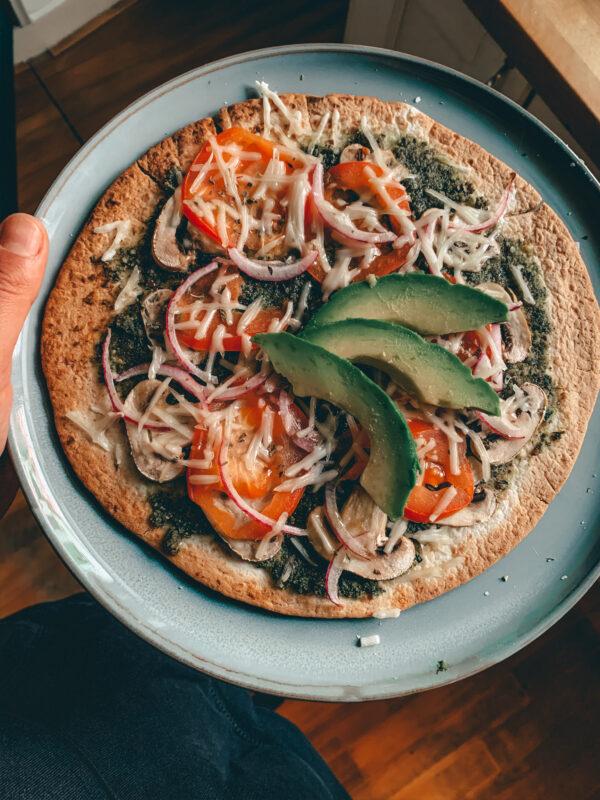 Vegan wrap pizza klaar